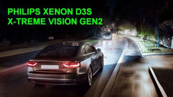 Ксеноновые лампы Philips D3S X-treme Vision gen2 +150%