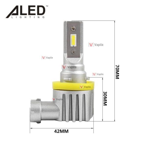 Размеры LED лампы ALED mini H11 MH11 13w 2000Lm