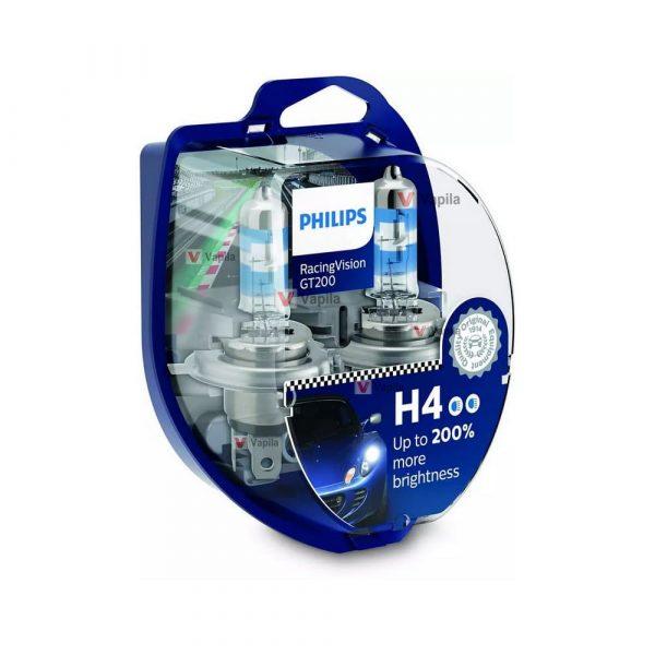 Галогенные лампы Philips Racing Vision GT200 H4 12342RGT +200%